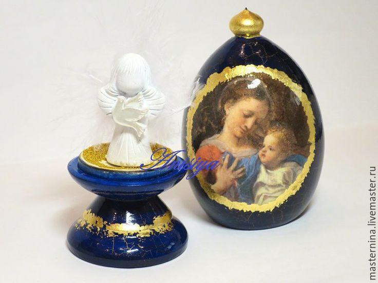 Купить Пасхальное яйцо Святое семейство с ангелом - тёмно-синий, пасхальные яйца, пасхальные сувениры