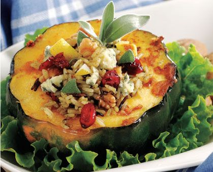 Wild Rice, Pear and Gorgonzola Stuffed Acorn Squash