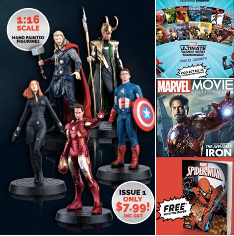 Double Combo Marvel Super Heroes Movie Figurines + Comic Books Collection. #Issue 1Movie Figurine - Iron Man ($7.99 incl GST) #1st Comic Book - Spider-Man + Collector's case (Free when you buy the Advertiser). Starts tomorrow/Saturday 23/7/16.