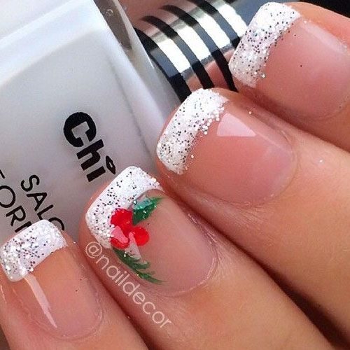 white-glitter-french-tips-green-red-holly
