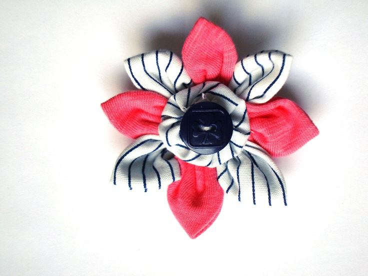 Handmade SPARKS Flower with Navy Blue Logo Girl Guide Button and Vintage GGC Striped Uniform Fabric. $6.00, via Etsy.