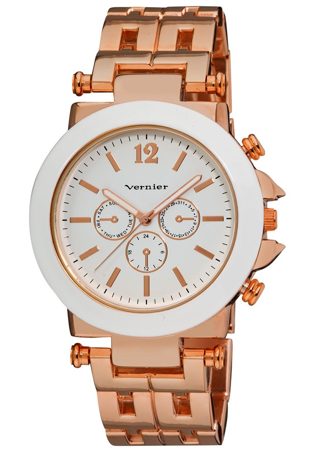 Price:$29.00 #watches Vernier VNR2364-R, This beautiful oversized womens watch has a contrasting white enamel face and dial. The faux chronograph dials and a stunning rose tone geometric pattern link bracelet is must have accessory for any outfit!