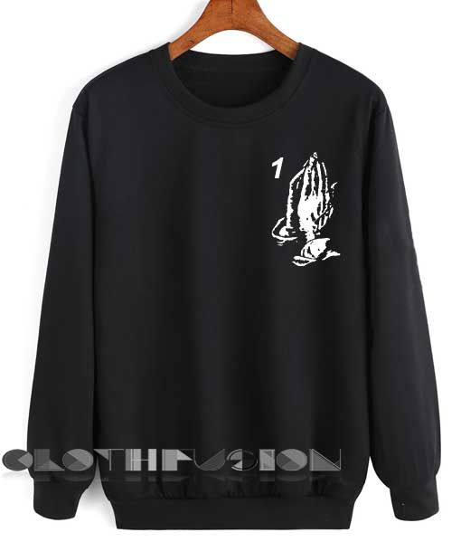 Unisex Crewneck Drake Praying Hands Sweater Logo Design Clothfusion