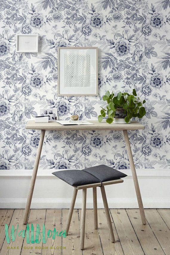 Grey Floral Pattern Wallpaper Floral Wallpaper by WallfloraShop