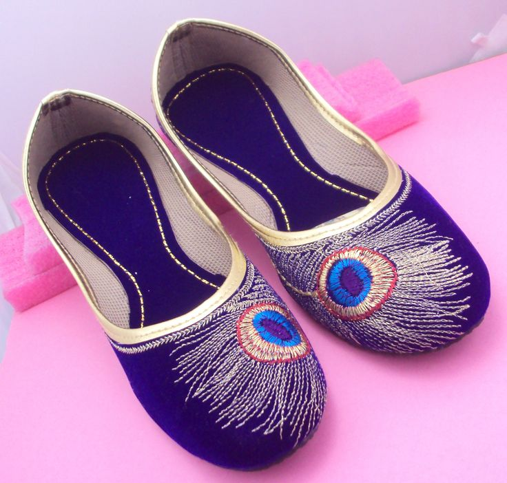 Blue Peacock Shoes/Gold Shoes/Blue Flats/Ethnic Shoes/Velvet Shoes/Handmade Indian Designer Women Shoes/Maharaja Style Women Jooti by pinkcityhandmade on Etsy