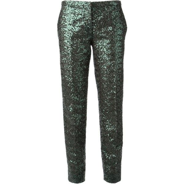 Nº21 Sequin Trousers featuring polyvore, fashion, clothing, pants, bottoms, green, green pants, n°21, green sequin pants and sequin pants