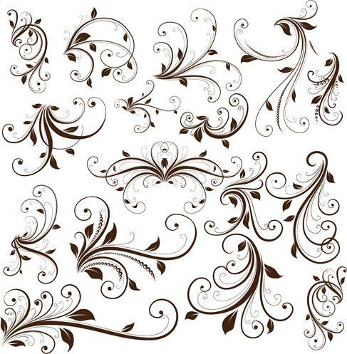 Swirl Floral Decorative Element Vector Graphic