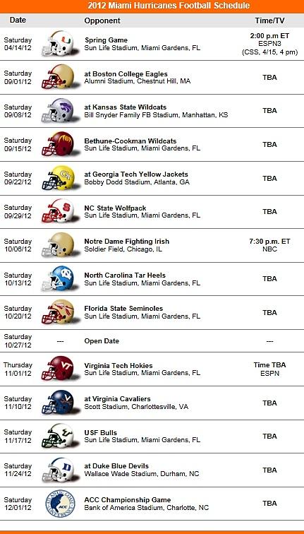 Miami Hurricanes 2012 Football Schedule ' The U