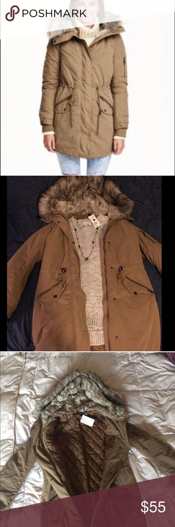 NET fur hooded parka New with tags H&M Fur hood parka, detachable hood, size 2, color is khaki green and sold out in stores. Cheaper on ppal!! H&M Jackets & Coats