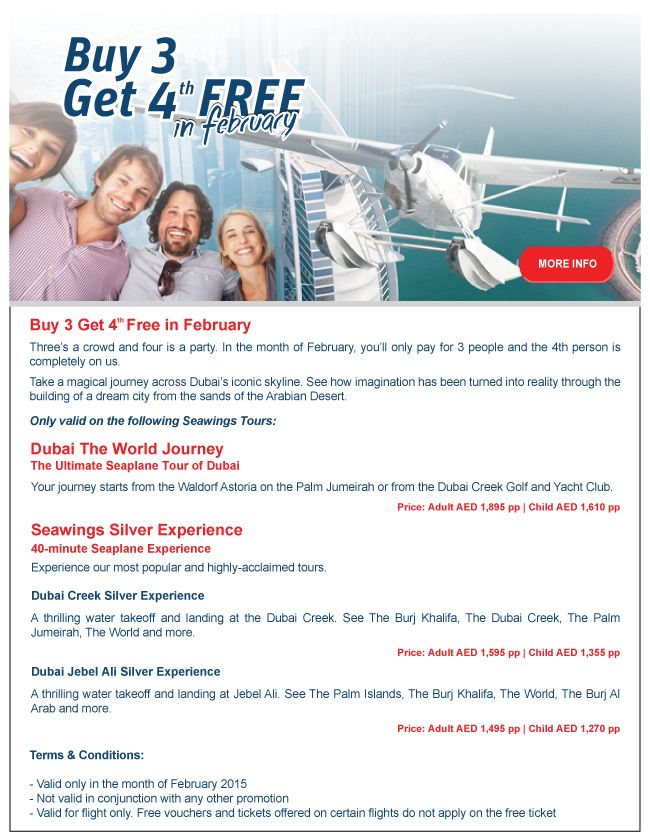 Our February 3+1 promotion...go on, book your tour today.