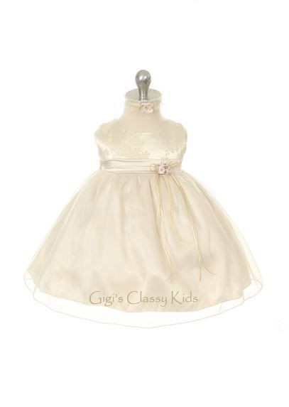 New Baby Flower Girls Champagne  Dress XS S M L XL  Easter Christmas Party KD156 #DressyHolidayPageantWedding