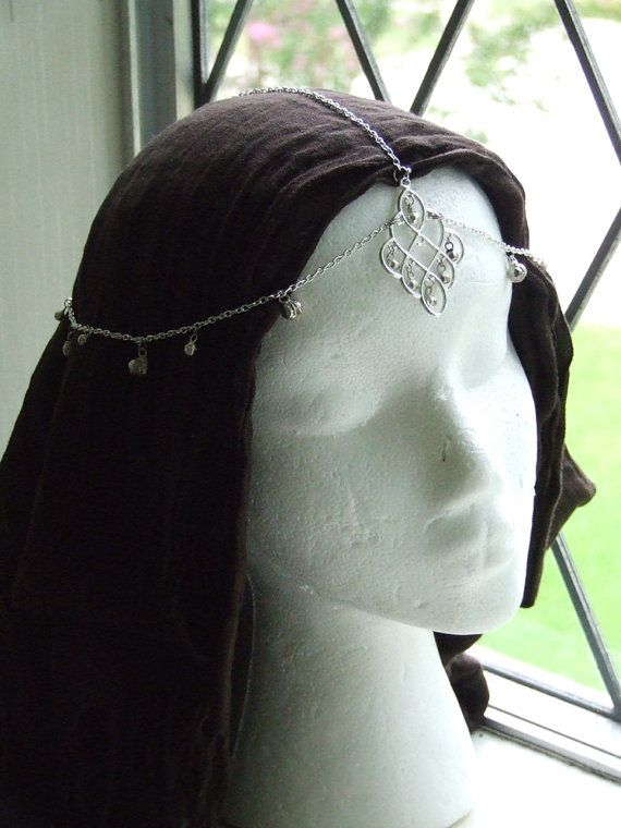Silver Tikka Head Jewelry for Renaissance or Medieval by Idealeon, $35.00