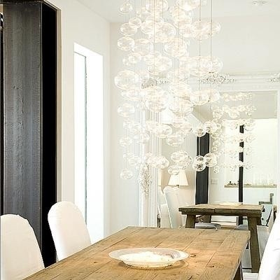 pendente: Bubbles Chand, Lights Fixtures, Tables Design, Eclectic Dining Rooms, Rustic Tables, Lights Design, Rustic Woods, Farms Tables, Dining Tables