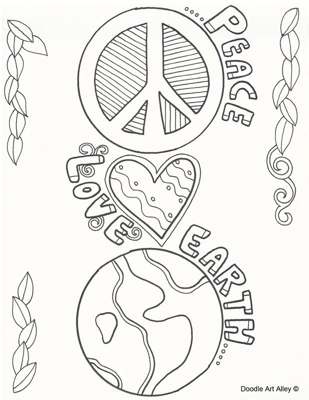 peace love earth doodle Colouring