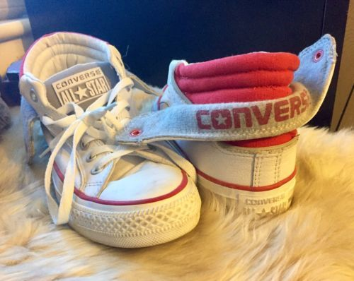 Converse-All Star-ankle boot-trainers-Leather-Folding embroidered -Size 5-Rare Clothes, Shoes & Accessories:Women's Shoes:Trainers #forcharity