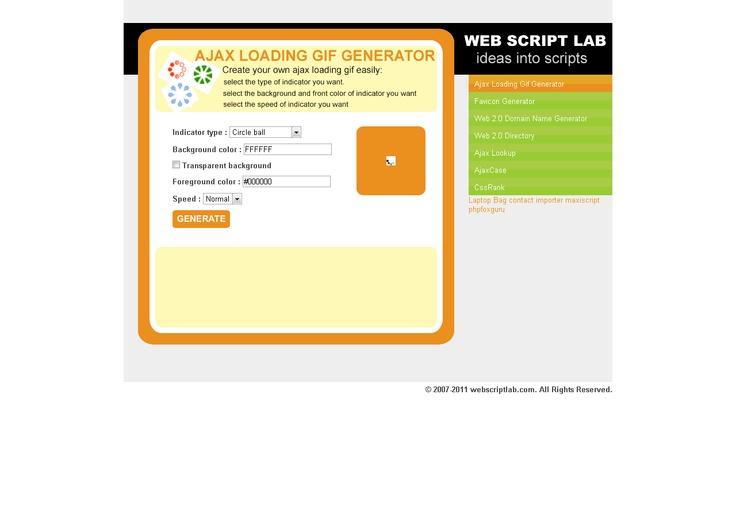 Web Script Lab » Ajax Loading Gif Generator
