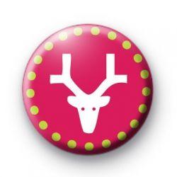 Modern Pink Reindeer Badge