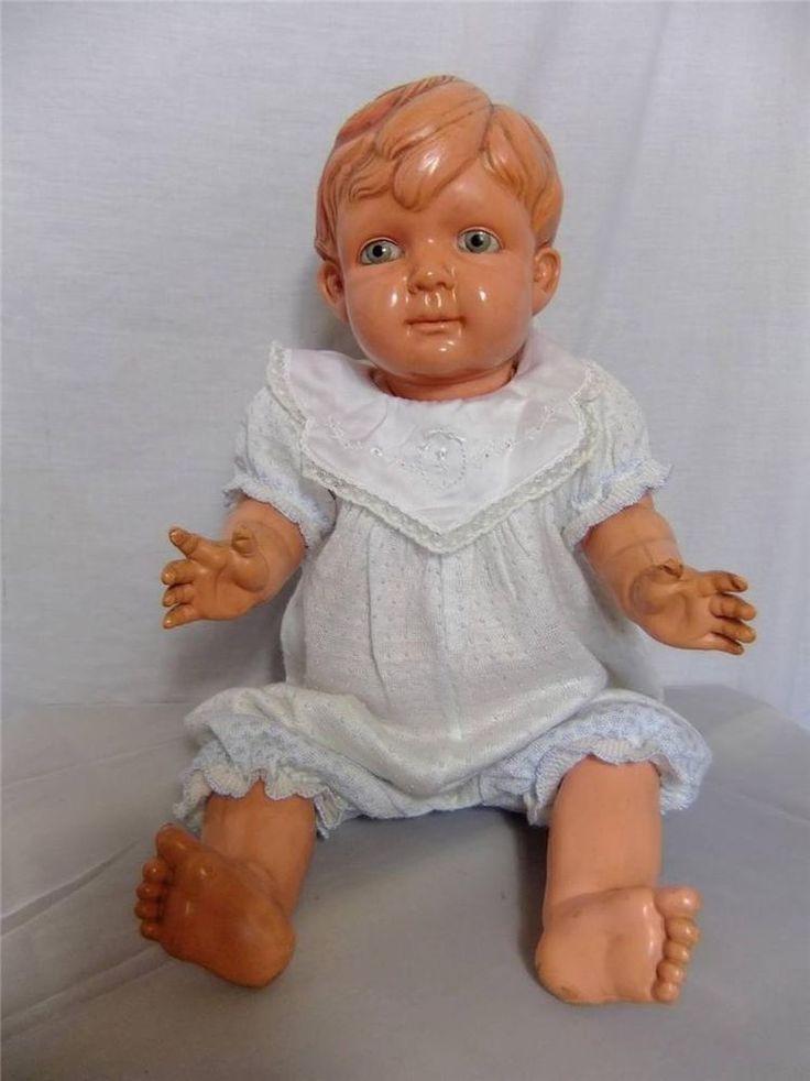 "Antique 22"" Sekiguchi Japan Clover Mark Celluloid Baby John Doll 1930's"