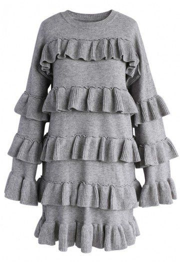 be6d345e73 Tiered Fantasy Sweater Dress in Grey - DRESS - Retro