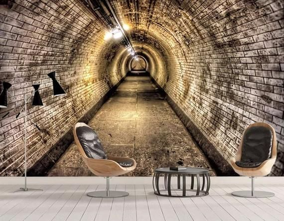 3d Depth Tunnel Wallpaper Industrial Wind Cave Tunnel Wall Poster