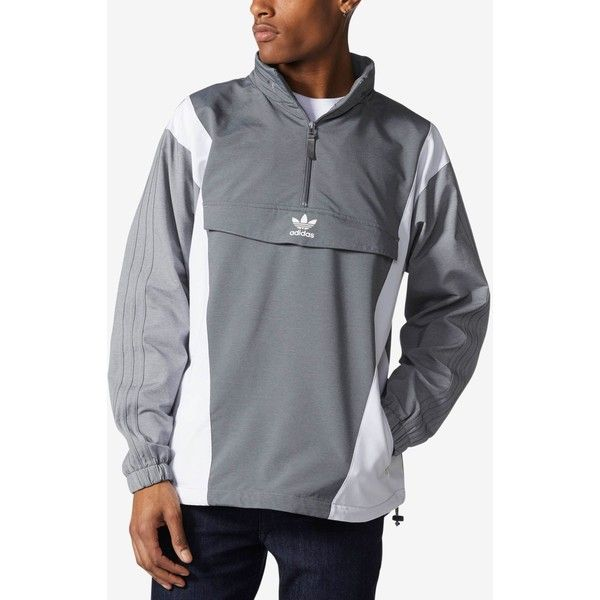 adidas Originals Men's Colorblocked Half-Zip Windbreaker ($100) ❤ liked on Polyvore featuring men's fashion, men's clothing, men's activewear, men's activewear jackets and grey