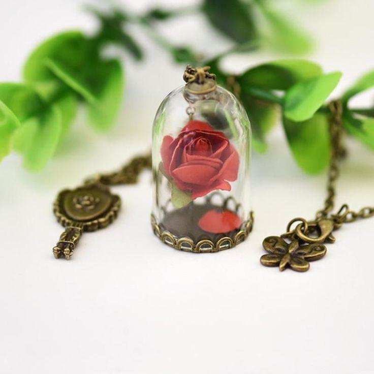 Rose Bottle Pendant Necklace 🌹 - Mermaid Freak