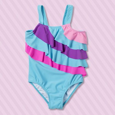 Pumpkin Patch Multi Frill Swimsuit - available in sizes 1 to 12 years http://www.pumpkinpatchkids.com/