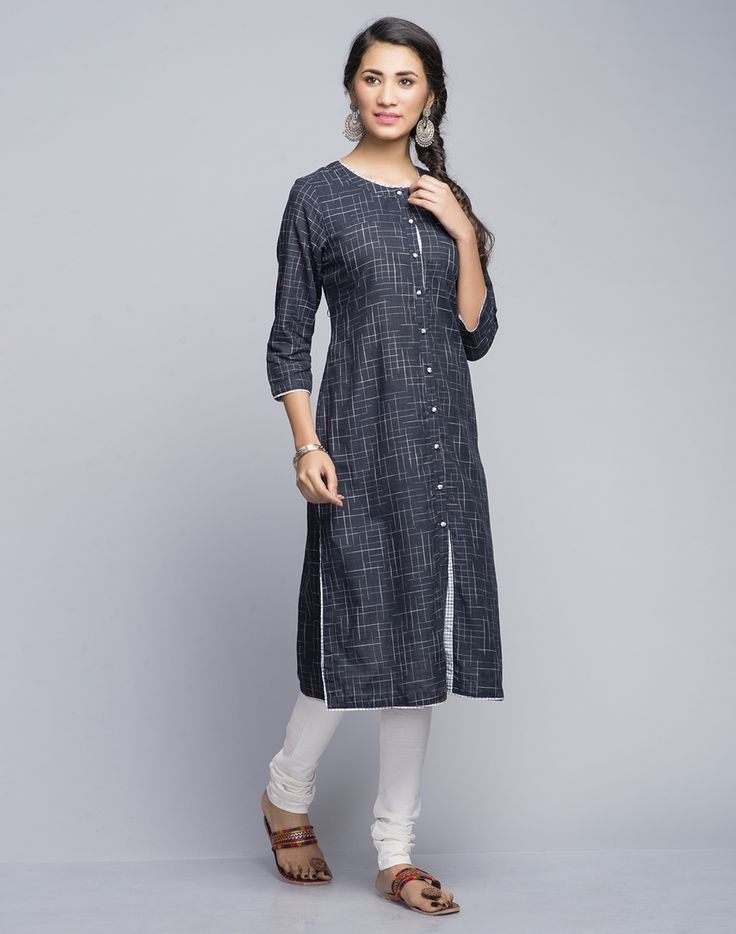 Cotton KhadiRound Neck with Loop Buttons3Q SleevesA-Line FitHand Wash Separately In Cold Water