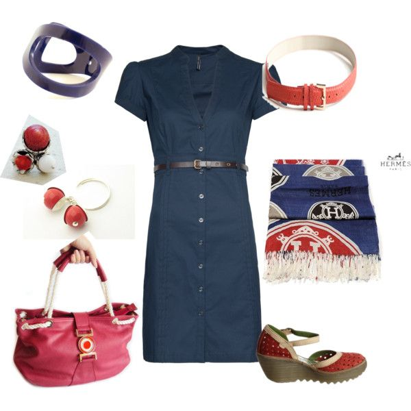 """Red blue day work"" by helenaribeiro on Polyvore"