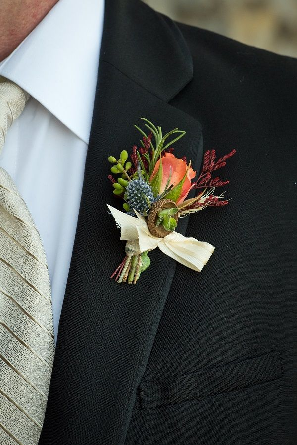 Fall Wedding Boutonniere Acorn Boutonniere With Orange