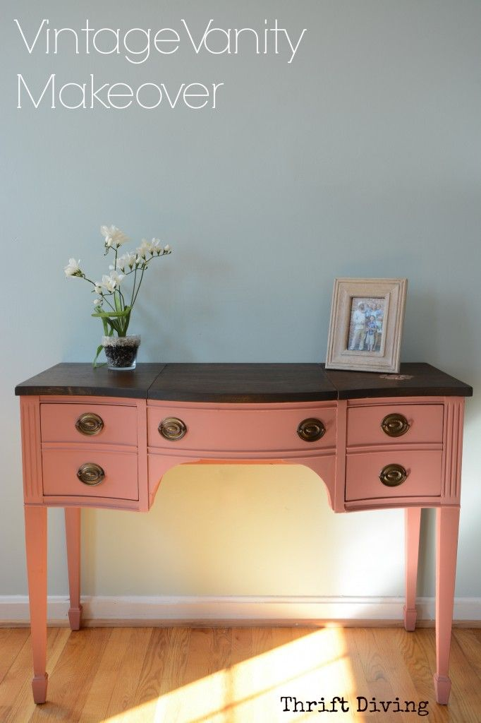 Vintage vanity from the thrift store gets a makeover - Thrift Diving