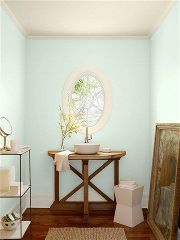 Look at the paint color combination I created with Benjamin Moore. Via @benjamin_moore. Wall: Italian Ice Green 2035-70; Trim: Opaline OC-33; Ceiling: Opaline OC-33.