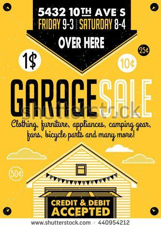 stock-vector-garage-or-yard-sale-with-signs-box-and-household-items-vintage-printable-poster-or-banner-440954212.jpg (333×470)