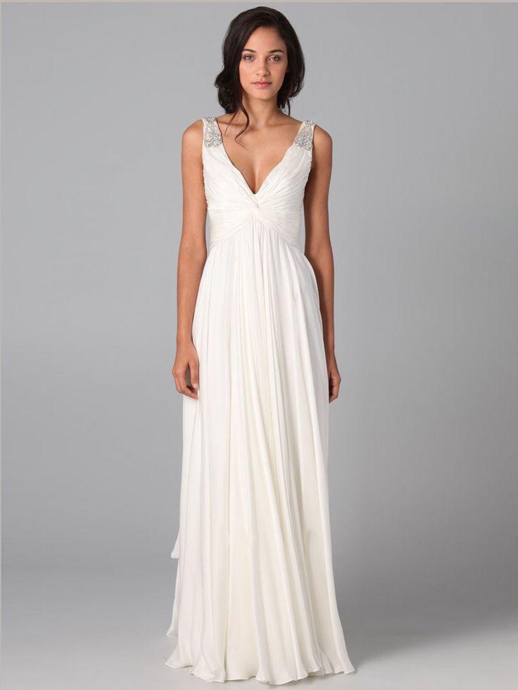 Hot selling new 2014 custom made sexy a-line v-neck white chiffon prom dress with beading wedding dress bridesmaid dress $120.00