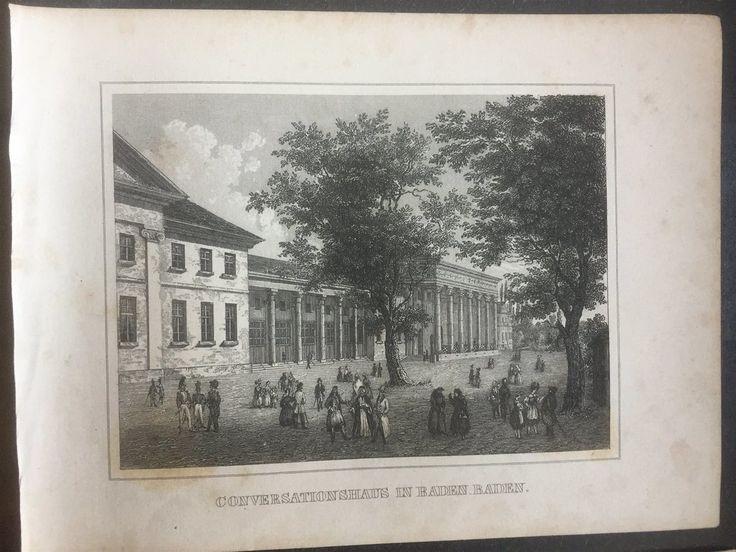 Annons på Tradera: Baden Baden Antik Etsning Topografisk Plansch 1840 Das kleine Universum