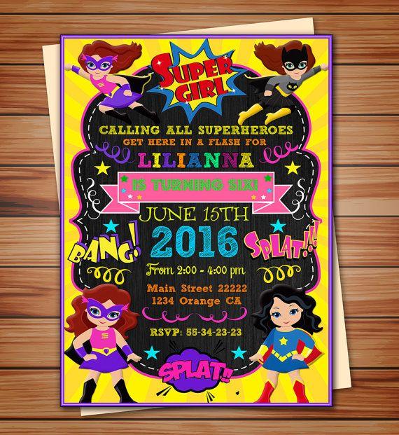 Super girls party invitation Super girls by BeautifuldigitalMX
