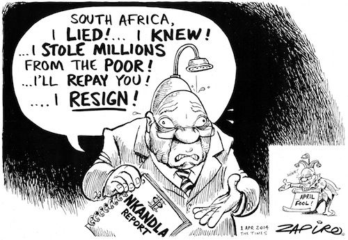 ZAPIRO -1 April 2014 - Jacob Zuma Resigns over Nkandla Report