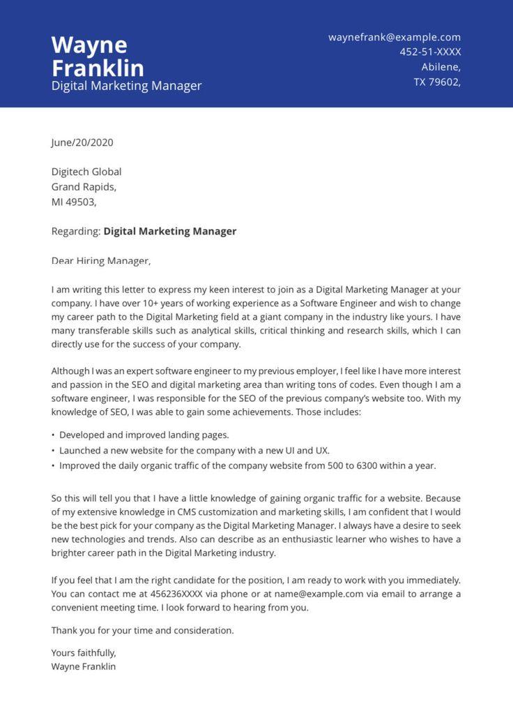 Change of career cover letter job cover letter cover