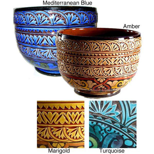 Mediterranean Ceramic Planter (Morocco) - Overstock.com