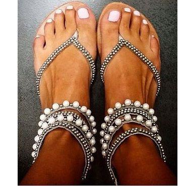 2017 Summer women sandals shoes sandals plus size Beading Rhinestone Thong Flat sandals women gladiator sandals women sandalia