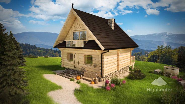 Dom z bali Za lasem widok od wejścia