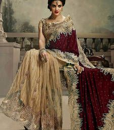 Buy maroon and chiku embroidered velvet saree with blouse Online