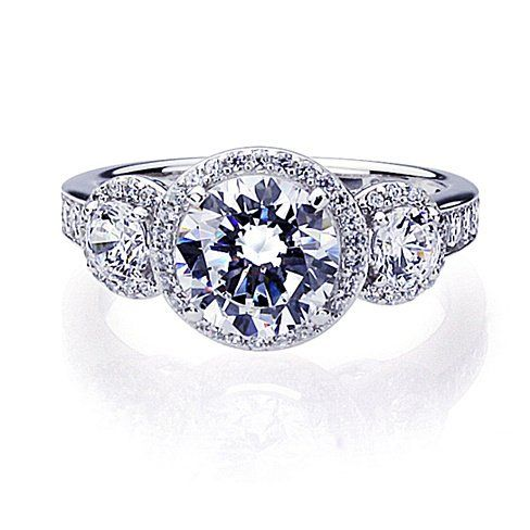 Sterling Silver 3 Stone Halo Round 2 Carat Engagement Ring ( Size 5 to 9)