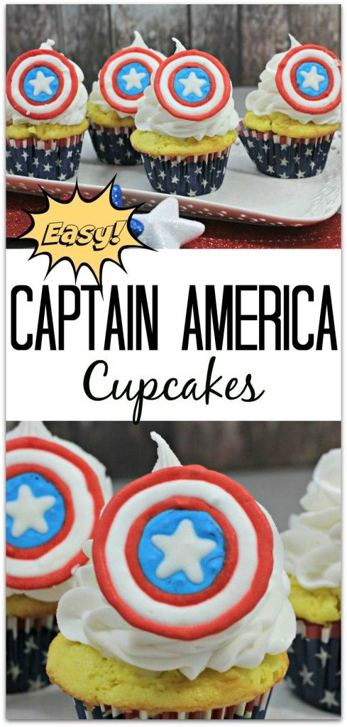 Love Captain America? These cupcakes are the perfect recipe for Marvel fun! Whether you're throwing an Avengers birthday party or just celebrating with a Captain America theme, this will be a delicious dessert for your family & guests!