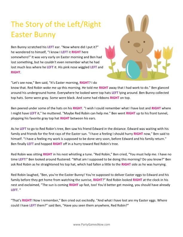 Easter Bunny Left/Right Story   Easter Games For Adults, Easter Games For  Kids, Printable Easter Games