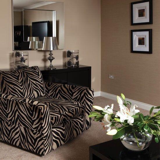 Bold zebra-print living room