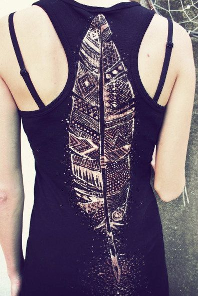 TRIBAL FEATHER TANK top  handpainted. €38.00, via Etsy.