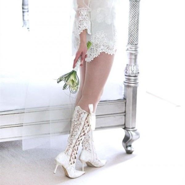 ecfb76abbe7f2 White Lace Bridal Shoes Pointy Toe Side Lace up Knee Boots for ...