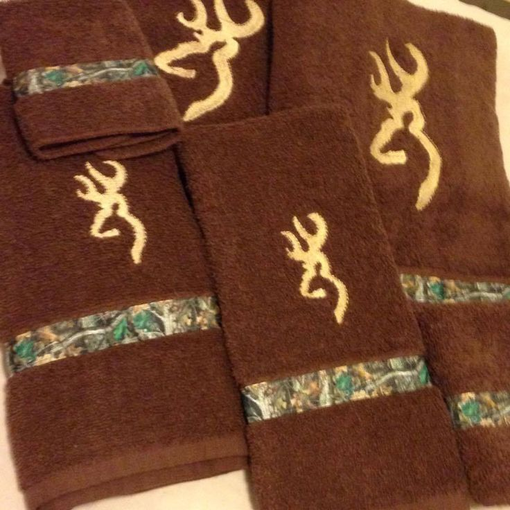 Embroidered Brown Bath Towel Set 6 Piece with Browning Buck Silhouette Design, Camouflage Ribbon, Hunting Decor, Country Decor by ForFunEmbroidery on Etsy