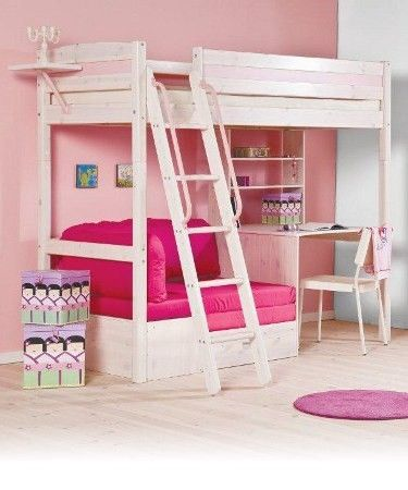 Bed And Desk Combo Teens Trendy 28 Whitewash Loft